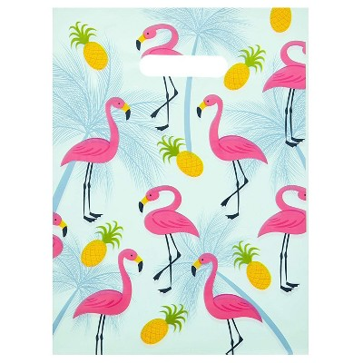 """Okuna Outpost 100-Pack Flamingo Party Favors Goodie Gift Bags, Plastic Merchandise Bags with Handles, 9"""" x 12"""""""