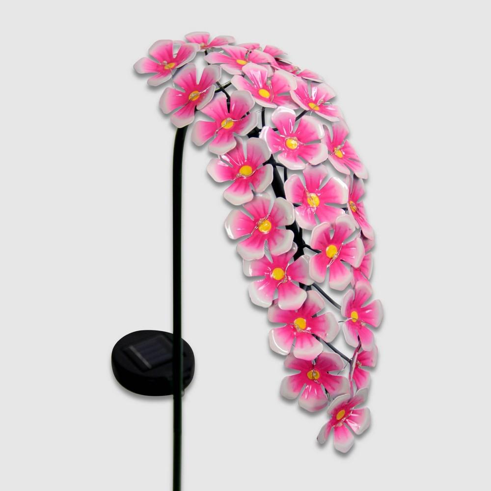 """Image of """"28"""""""" Metal Solar Hanging Flower Garden Stake Pink - Exhart"""""""