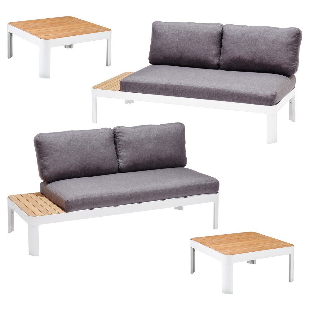Cayman 4pc Metal Patio Conversation Set - Gray/ Teak/White - Aiden Lane