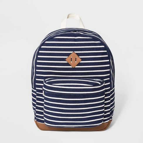 Striped Canvas Dome Backpack - Wild Fable™ Blue - image 1 of 5