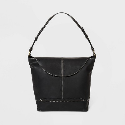 Bolo Leather Snap Flap Closure Crossbody Bag - Black