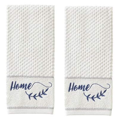 2pc Farm Home Hand Towel Set White - SKL Home