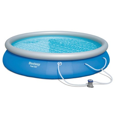 Bestway 57267E Fast Set Up 15ft x 33in Outdoor Inflatable Round Above Ground Swimming Pool Set with 530 GPH Filter Pump, Blue