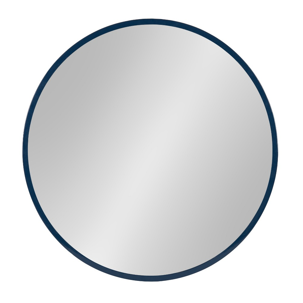 """Image of """"Kate & Laurel 21.6""""""""x21.6"""""""" Travis Round Wood Accent Decorative Wall Mirror Navy Blue"""""""
