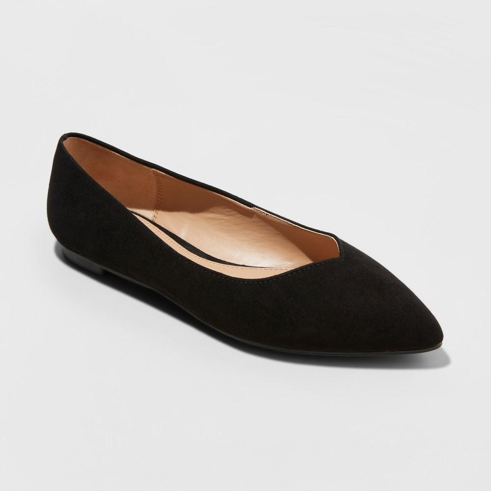 Women's Hillary Wide Width Ballet Flats - A New Day Black 7.5W, Size: 7.5 Wide
