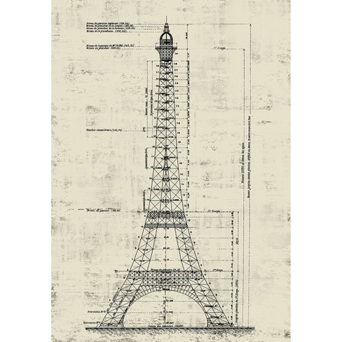 Eiffel Tower Wall Art - Crème - image 1 of 3