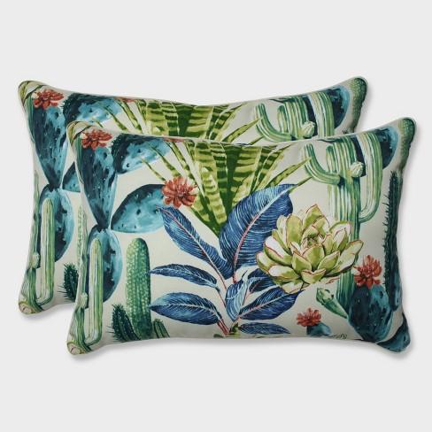 2pk Oversize Hatteras Garden Rectangular Throw Pillows Black - Pillow Perfect - image 1 of 1