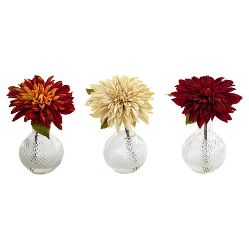 Vibrant Dahlia with Decorative Vase set of 3 - Yellow - image 1 of 2