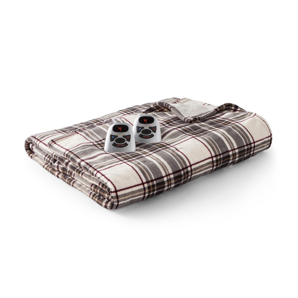 Microplush with Sherpa Electric Blanket (Full) Gray/Cream...
