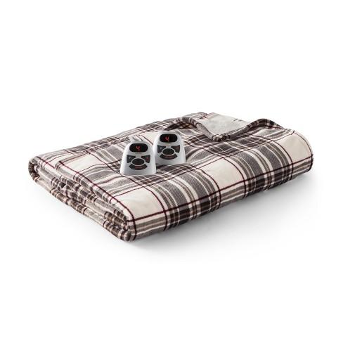 Full Microplush With Sherpa Electric Blanket Gray Cream Burgundy Plaid Biddeford Blankets Target