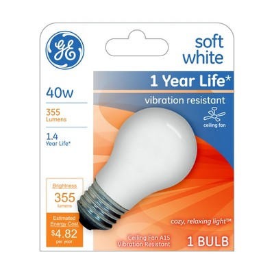 General Electric 40W A15 Ceiling Fan Light White