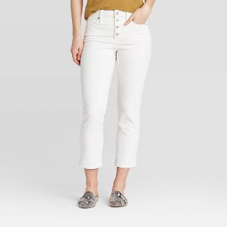 Women's High-Rise Straight Cropped Jeans - Universal Thread™ White 6