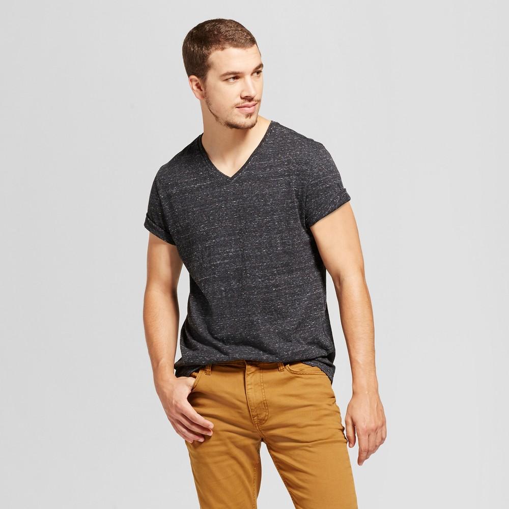 Men's Standard Fit Heathered Short Sleeve V-Neck T-Shirt - Goodfellow & Co Black L
