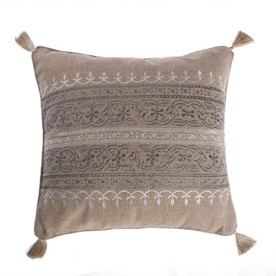 Trevino Embroidered Burlap Decorative Pillow - Levtex Home