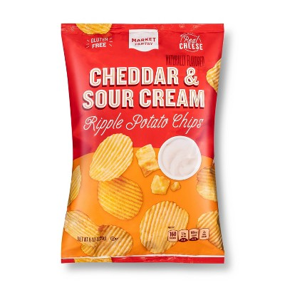 Cheddar and Sour Cream Ripple Potato Chips - 8oz - Market Pantry™