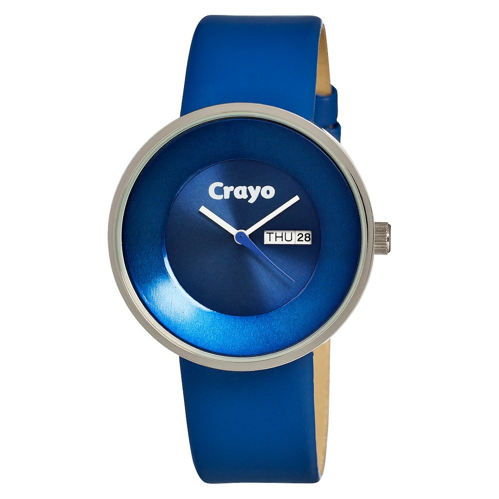 Image of Women's Crayo Button Watch with Day and Date Display - Blue, Size: Small