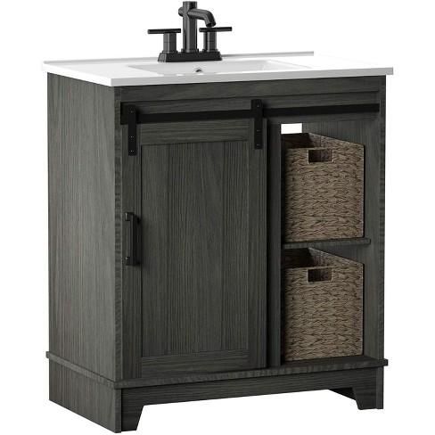 Pamari Cassara 30 In Barn Door Bathroom Vanity Geneva Oak Target