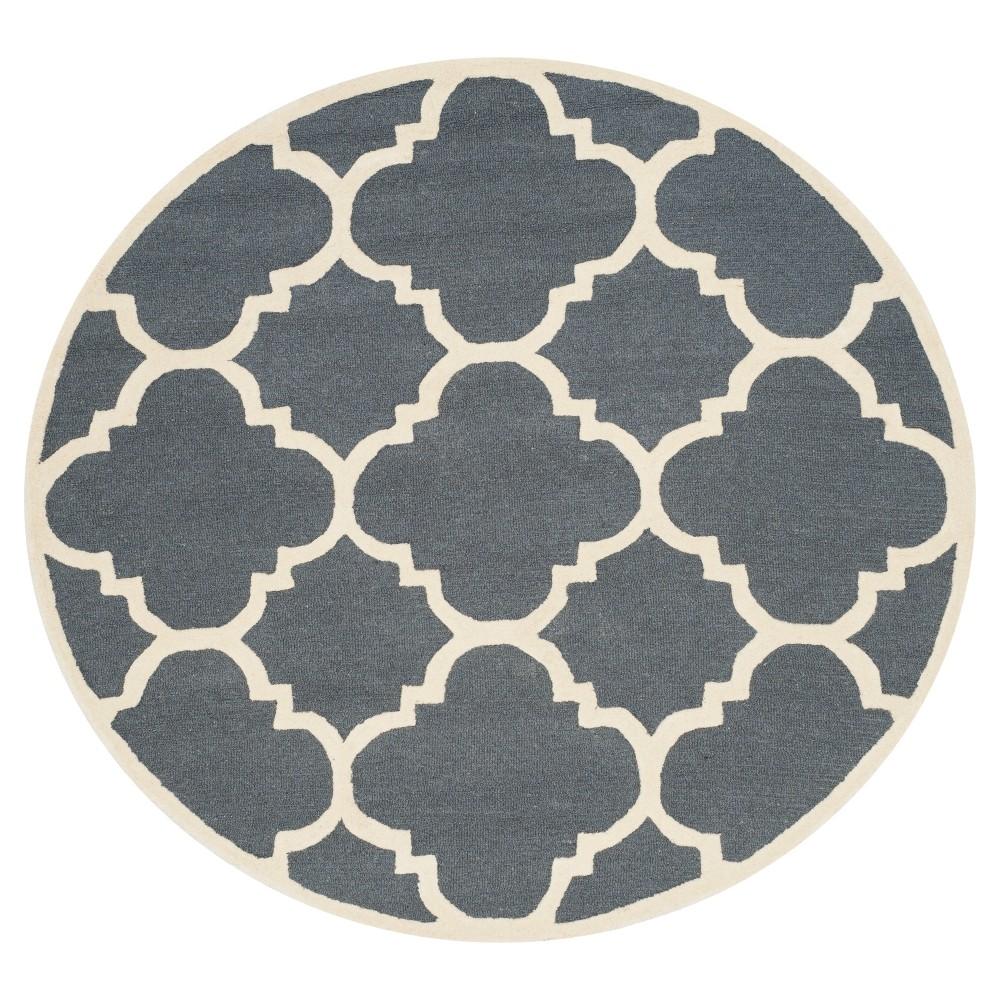 Landon Texture Wool Rug - Dark Gray / Ivory (6' Round) - Safavieh, Dark Gray/Ivory