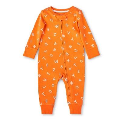 Baby Alphabet Print Front Zipper Pajama - Christian Robinson x Target Orange 3-6M