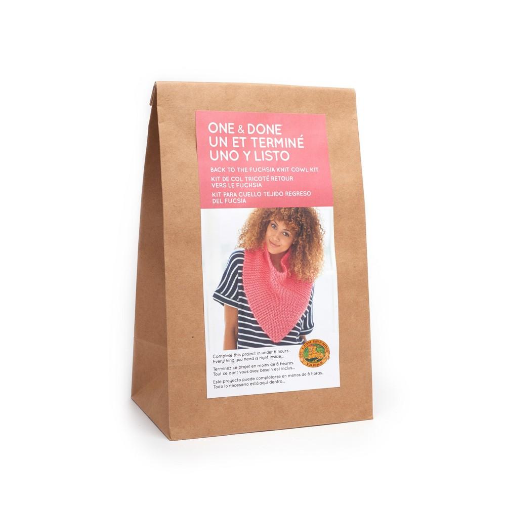 Image of Lion Brand Yarn Kit Knit Cowl - Fuchsia Pink