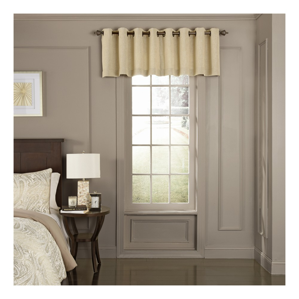 Arlette Scalloped Blackout Window Valance Creme Brulee/Solid 52x18 - Beautyrest, Tan