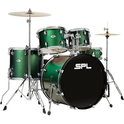 Sound Percussion Labs UNITY II 5-Piece Complete Drum Set With Hardware, Cymbals and Throne Pine Green Glitter