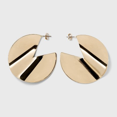 Worn Gold Creased Metal Hoop Earrings - A New Day™ Gold
