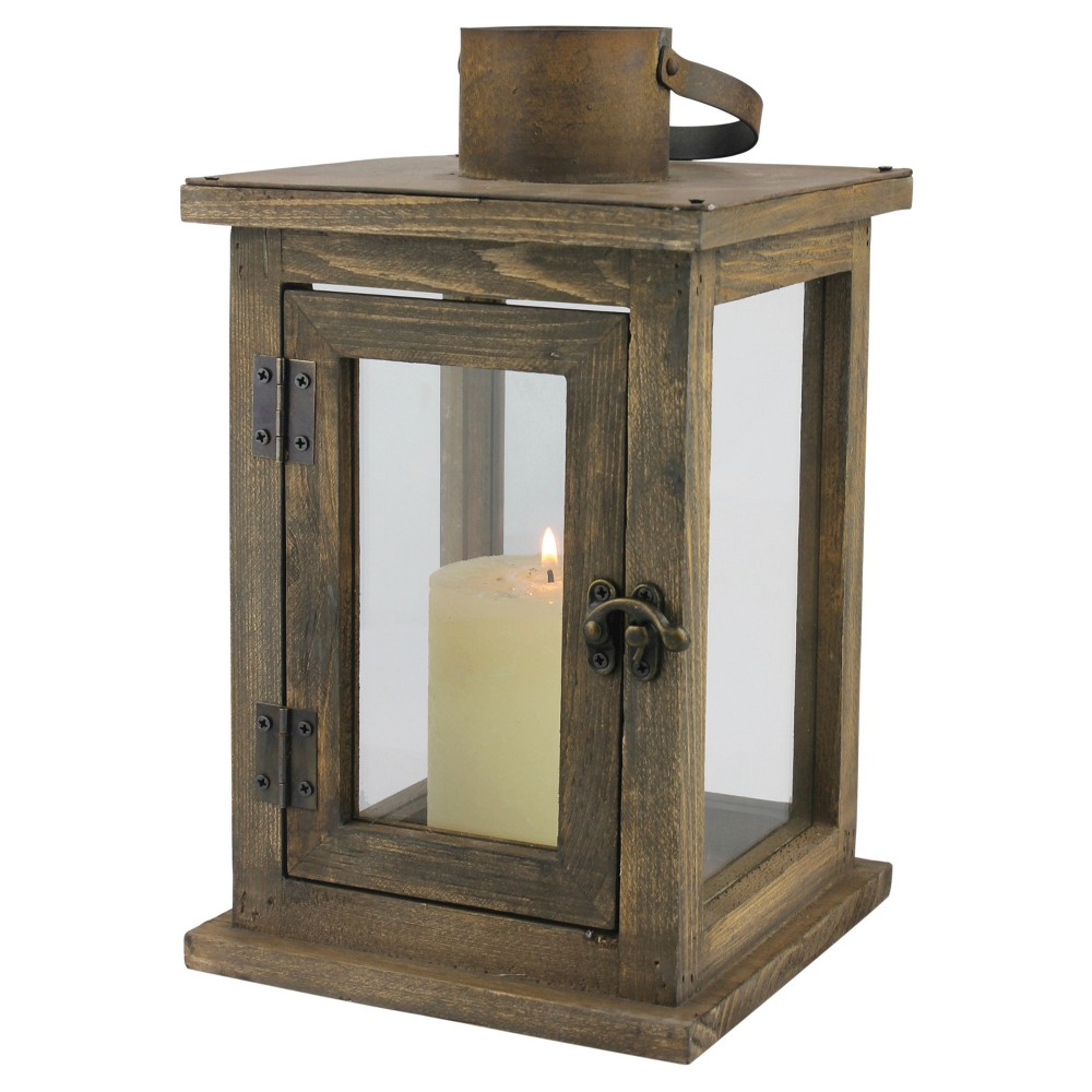 "Image of ""11.02"""" Stonebriar Rustic Wooden Candle Holder Lantern - CKK Home Decor, Brown"""