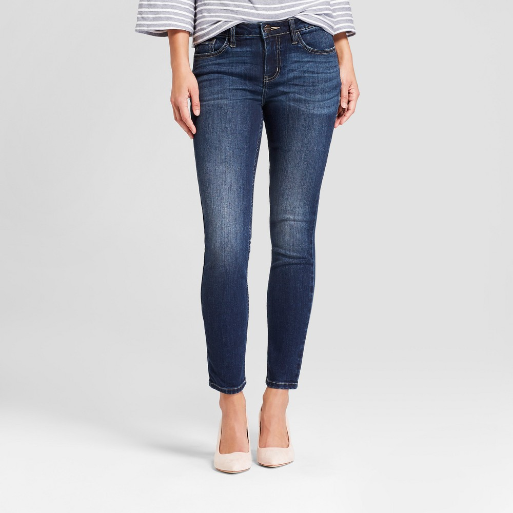 Women's Mid-Rise Skinny Ankle Jeans - Crafted by Lee Dark Wash 8, Blue