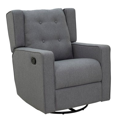 HomCom Wingback Button Tufted Swivel Manual Rocking Recliner Chair