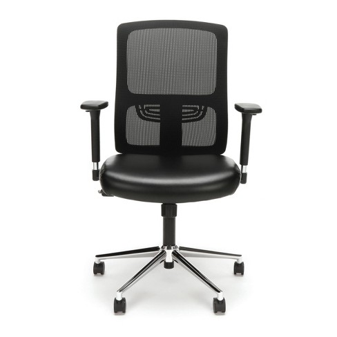 Ergonomic Task Chair Mesh Back And Leather Seat With Arms Black Chrome Ofm Target