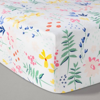 Fitted Crib Sheet Wildflower - Cloud Island™ White Floral