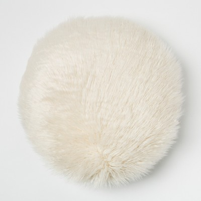 Mongolian Faux Fur Round Throw Pillow Cream - Project 62™