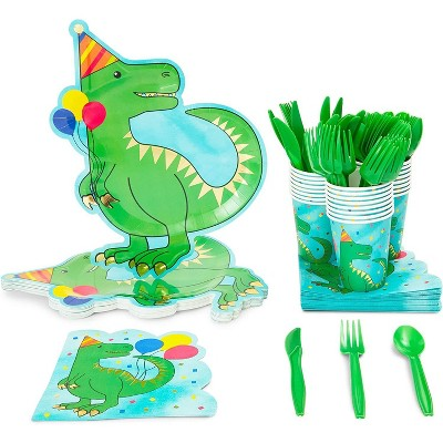 Dinosaur Birthday Party Supplies (Serves 24) Knives, Spoons, Forks, Paper Plates, Napkins, Cups (144 Pieces)