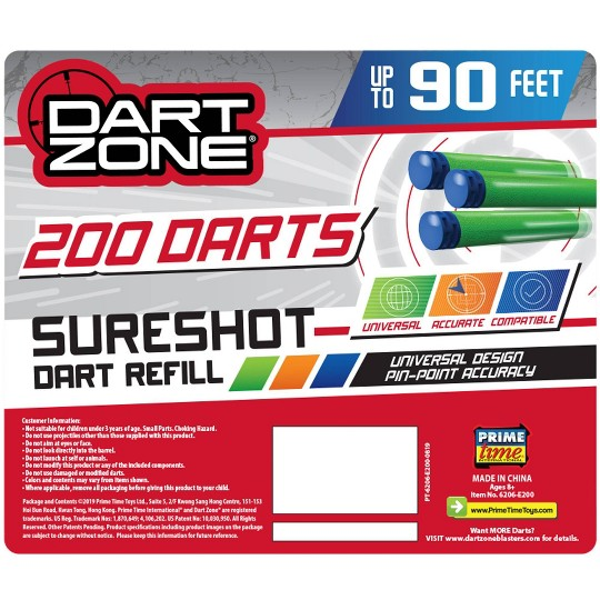 Dart Zone Covert Ops 200ct Dart Refill Box - Universal Compatible Darts image number null