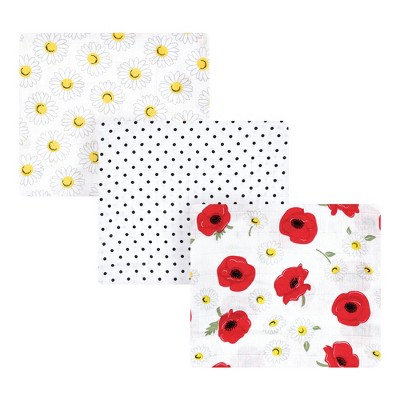 Hudson Baby Infant Girl Cotton Muslin Swaddle Blankets, Red Poppy Daisy, 3-Pack