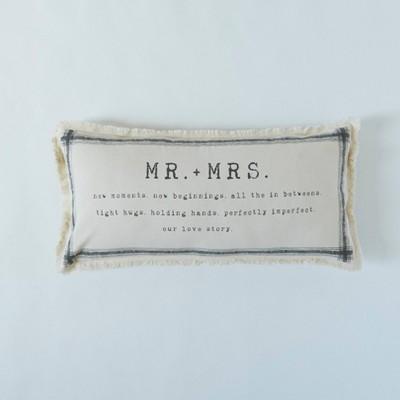 "14""x30"" Mr and Mrs Frayed Edge Lumbar Throw Pillow Beige - Patina Vie"