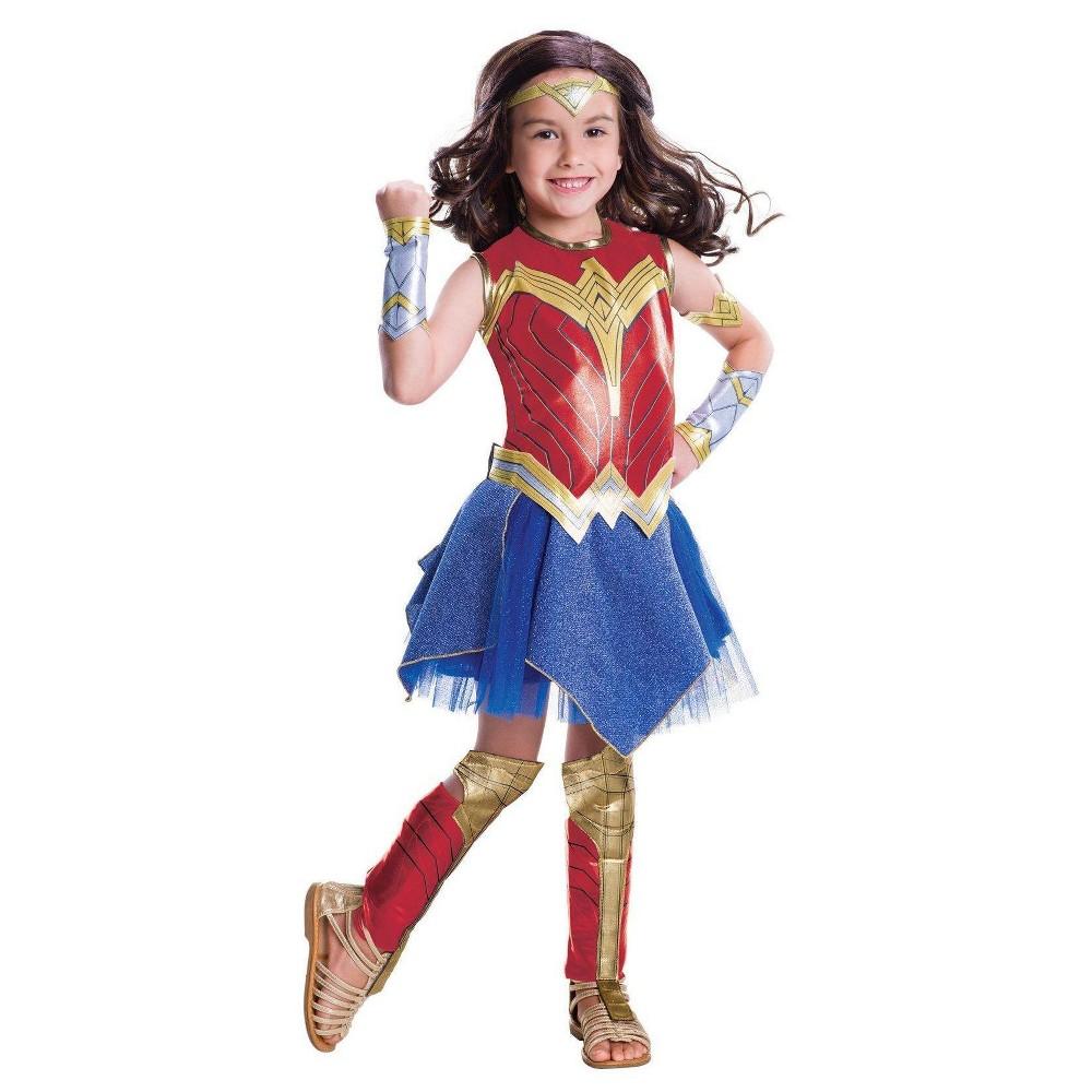 Girls' Wonder Woman Movie Deluxe Costume - M(8-10), Multicolored