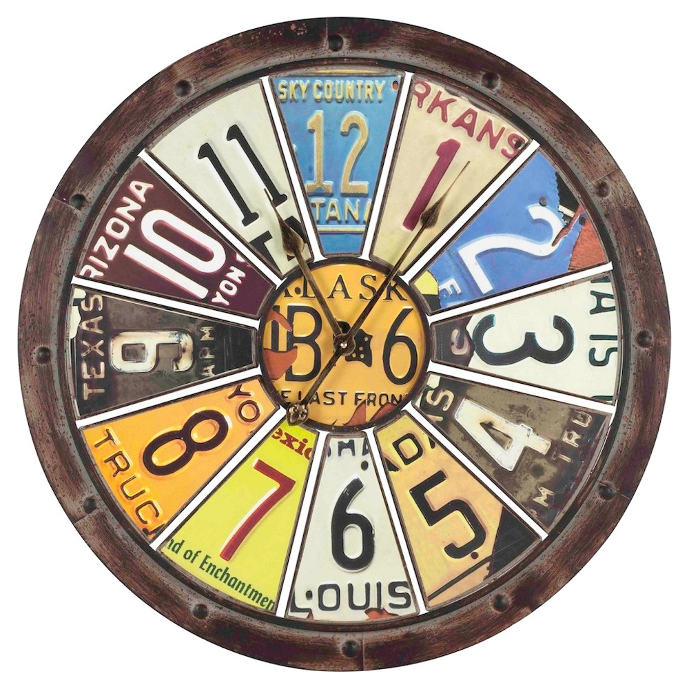 Image of Hilldale License Plates 32 Round Wall Clock - Cooper Classics