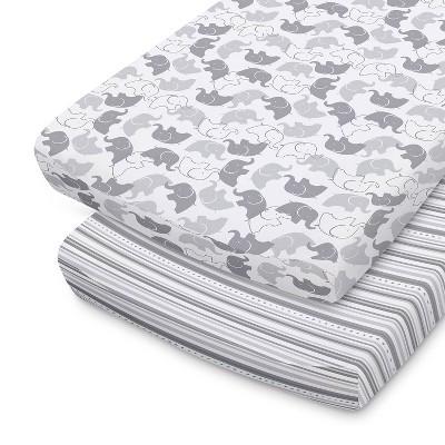 The Peanutshell Changing Pad Covers - Gray Elephants/Stripe 2pk