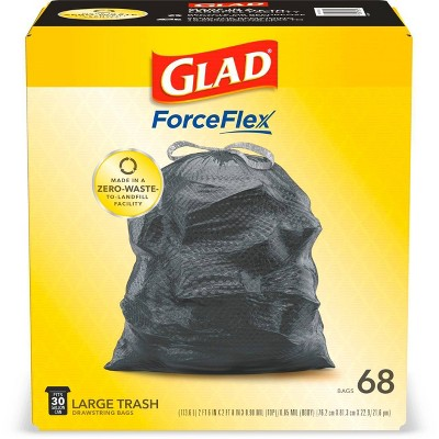 Glad ForceFlex + Large Drawstring Black Trash Bags - 30 Gallon - 68ct