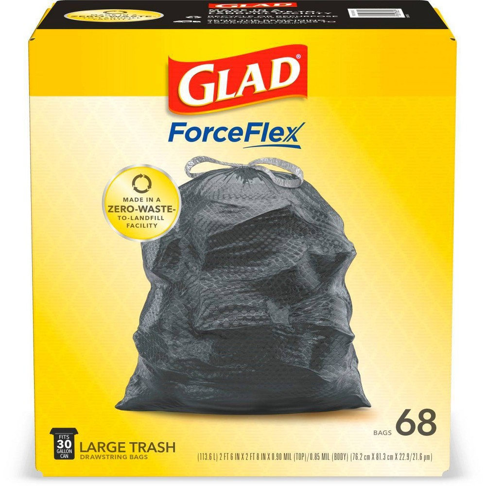 Glad Forceflex Large Drawstring Black Trash Bags 30 Gallon 68ct