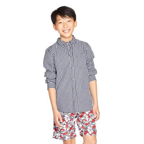 Boys' Woven Gingham Long Sleeve Button-Down Shirt - Navy/White XS - vineyard vines® for Target - image 1 of 4