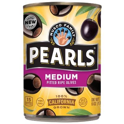 Pearls Medium Pitted Ripe Black Olives - 6oz
