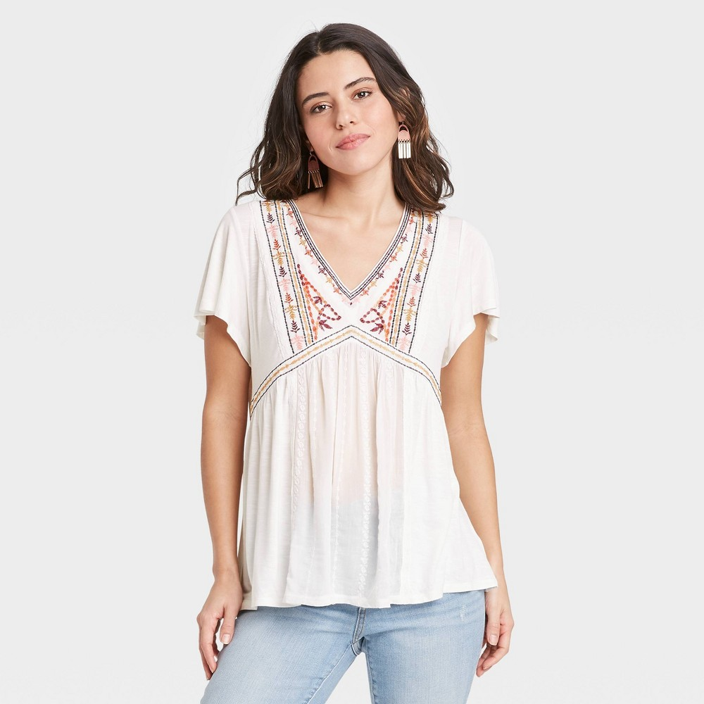 Women 39 S Short Sleeve Embroidered Knit Top Knox Rose 8482 White S