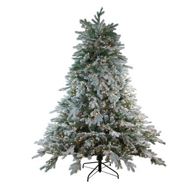 Northlight 6.5' Prelit Artificial Christmas Tree Frosted Butte Fir - Clear Lights