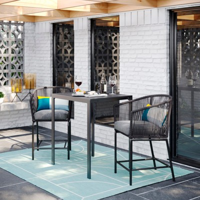 Standish 3pc Patio Bar Height Dining Set - Charcoal - Project 62™