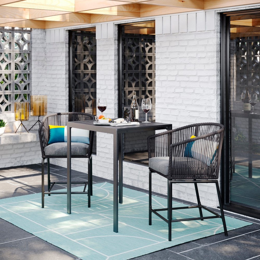 Standish 3pc Patio Bar Height Set - Charcoal - Project 62