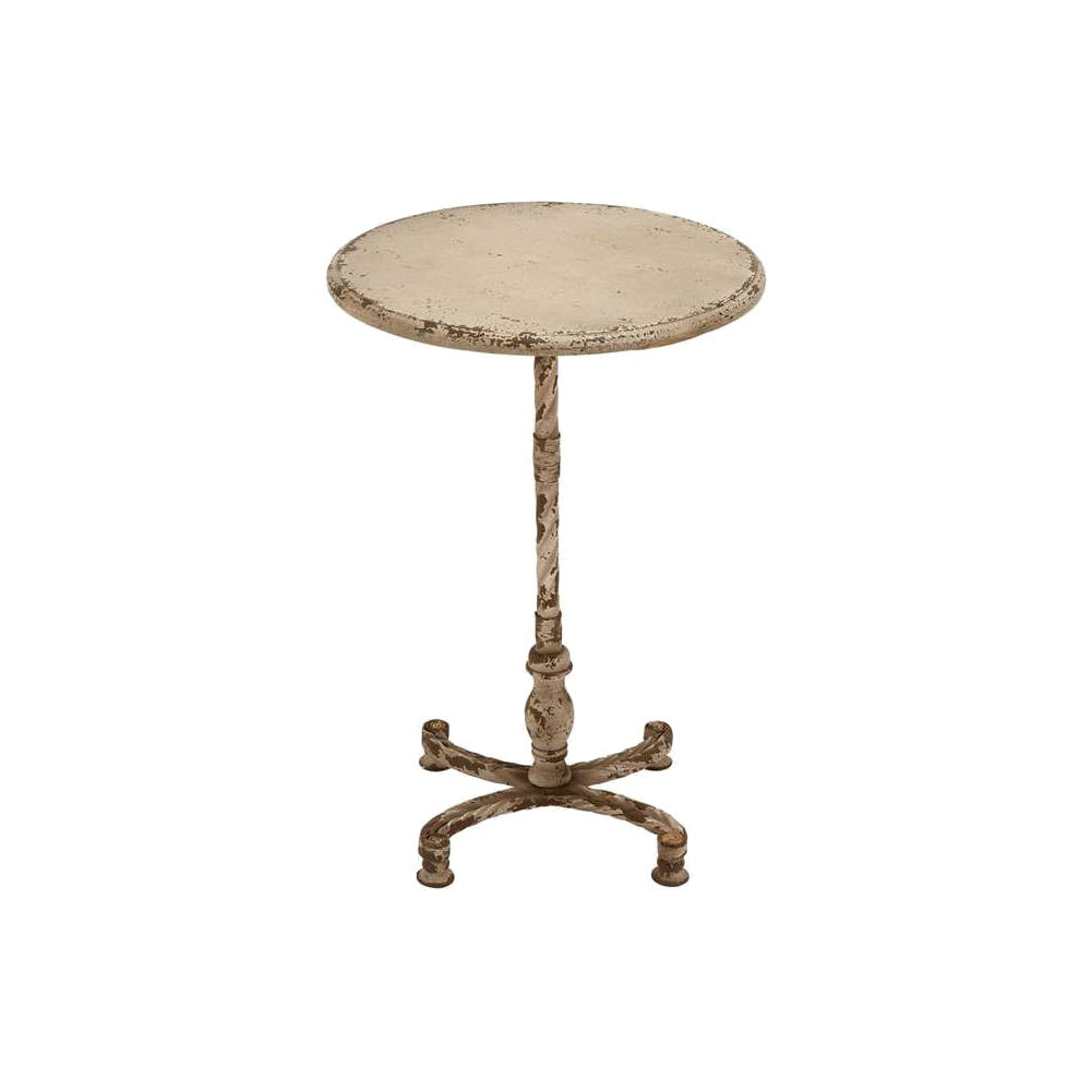 Metal Accent Table With Light Yellow- Brown Colors, Light Yellow-Brown