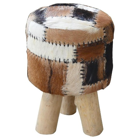 Safari Drum Stool With Leather Work - Black/White/Brown - Jeffan - image 1 of 1